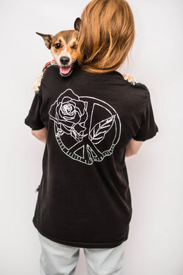 "DELIKATE RAYNE X NYLON FOR WORLD ANIMAL DAY ""PEACE BEGINS WITH COMPASSION"" TEE View 2"