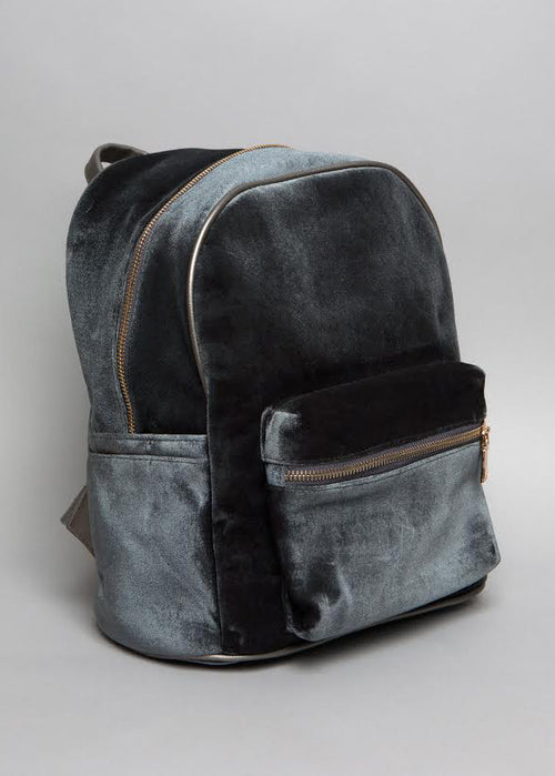 Grey Velvet Backpack