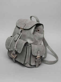 Grey Structured Pockets Mini BackPack View 2