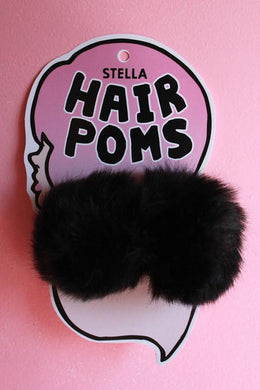 Hair Poms in Black