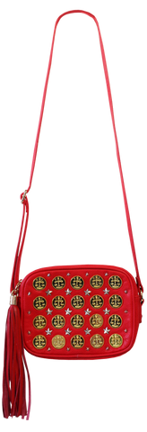 Coin Shoulder Bag in Red