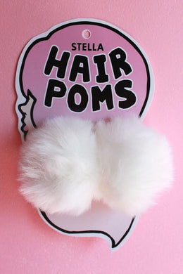 Hair Poms in White