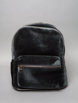 Grey Velvet Backpack View 2