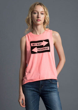 My Way Muscle Tank in Neon Orange