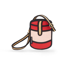 Woolen Mini Cross-Body Bag in Red