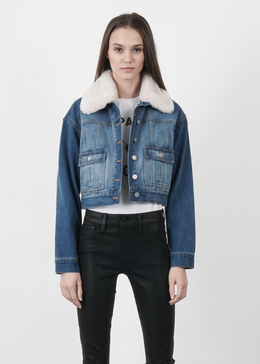 Beige Fur Collared Crop Denim Jacket