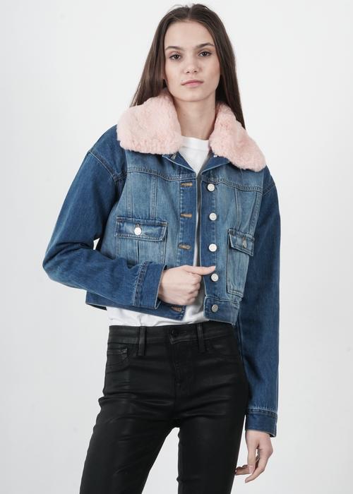 Fur Collared Crop Denim Jacket
