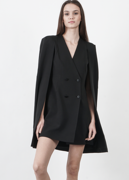 Black Split Back Cape Dress