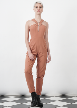 Tan Brown Metal Ring Cutaway Jumpsuit
