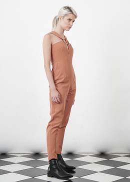 Tan Brown Metal Ring Cutaway Jumpsuit View 2