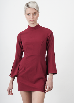 Burgundy Flare Sleeved Mod Turtleneck Dress