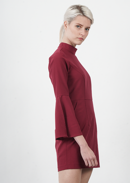 Burgundy Flare Sleeved Mod Turtleneck Dress View 2