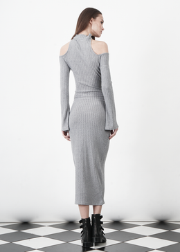 Grey Rib Knit High Neck Wrap Around Belt Midi Dress View 2