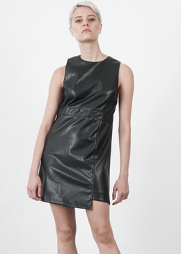 Vegan Leather Shift Dress