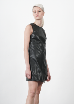 Vegan Leather Shift Dress View 2