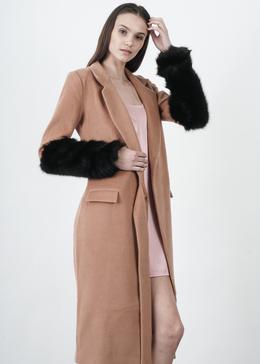 Camel Tie Front Black Faux Fur Cuff Coat
