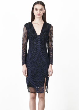 Navy Embroidered Mesh Dress