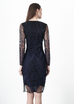 Navy Embroidered Mesh Dress View 2