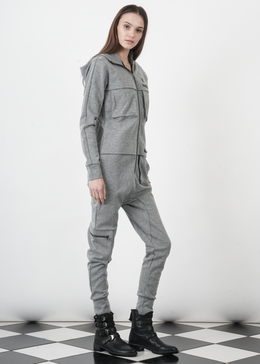 Distance Jumpsuit in Grey Melange View 2