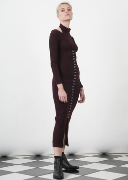 Dark Plum Rib Knit High Neck Hook & Eye Detail Midi Dress View 2
