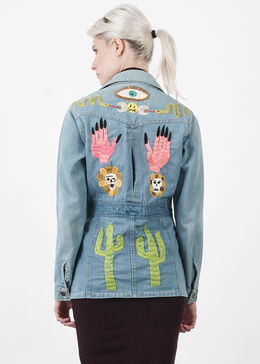 Cactus and Skull Flowers Vintage Jean Jacket
