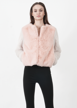 Color Block Faux Fur Jacket in Pink View 2