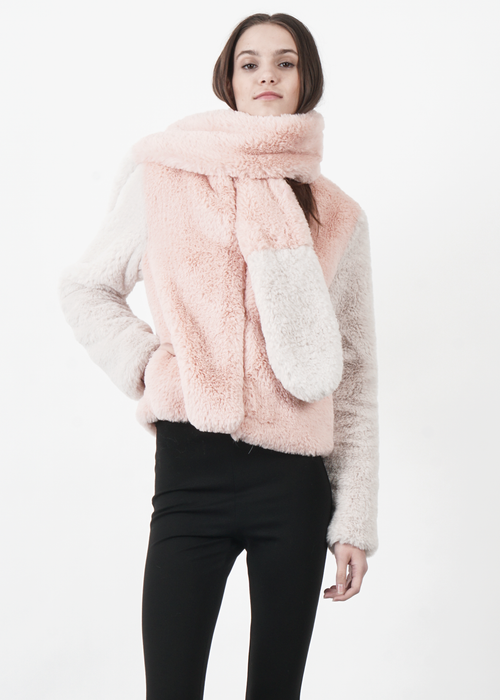 Color Block Faux Fur Jacket in Pink