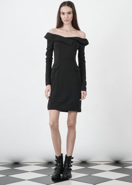 Black Off The Shoulder Tuxedo Style Mini Dress