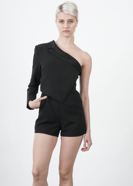 Asymmetrical Romper in Black