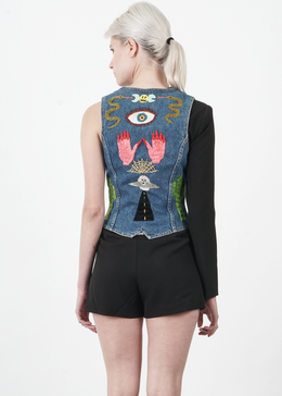 Vintage Embroidered Denim Vest