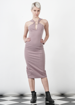 Mauve Metal Ring Plunge Detail Midi Dress