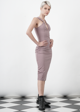 Mauve Metal Ring Plunge Detail Midi Dress View 2
