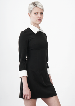 Black Dress with Peter Pan Collar View 2