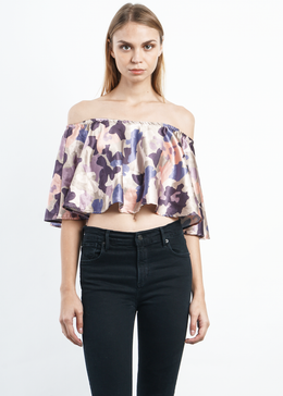 Camo Off-Shoulder Top **Pre-Order, Ships 1/10**