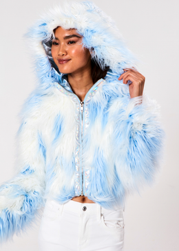 Daddy Fur Hooded Jacket (Blue) View 2