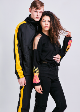 Anorak Track Pullover in Black and Yellow