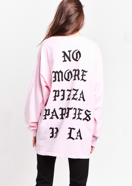 No More Pizza Parties in LA Tee in Pink