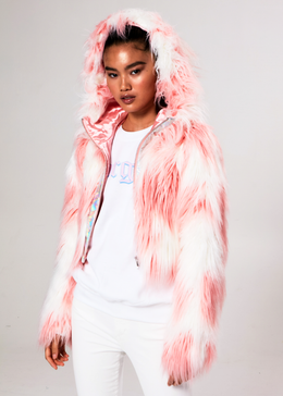 Daddy Fur Hooded Jacket (Pink) View 2