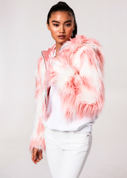 Daddy Fur Hooded Jacket (Pink)