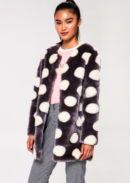 Bubbles Coat in Charcoal and Ivory