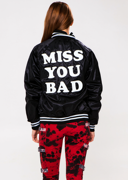 Miss You Bad Black Stadium Jacket View 2