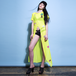Neon Yellow Sequin Holidayz Dress View 2