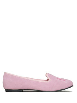 Fuck Suede Flats in Pink View 2