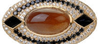 Deborah Pagani One of a Kind 18K Yellow Gold Twila Ring with Diamonds, Golden Moonstone and Onyx