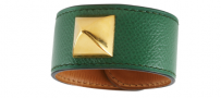 Vintage Hermes 1990\'s Green Leather Medor Cuff