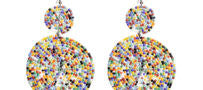 AFRICAN MAASAI TRIBE STATEMENT HAND-BEADED EARRINGS IN RAINBOW