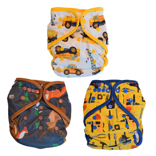 all in one cloth diapers construction forest animals tools prints