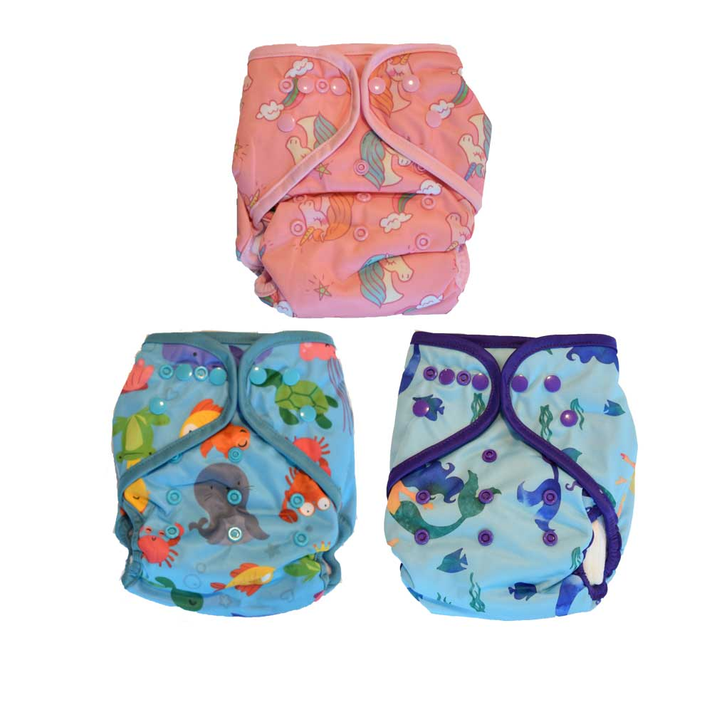 all in one cloth diapers unicorn mermaid sea animals prints