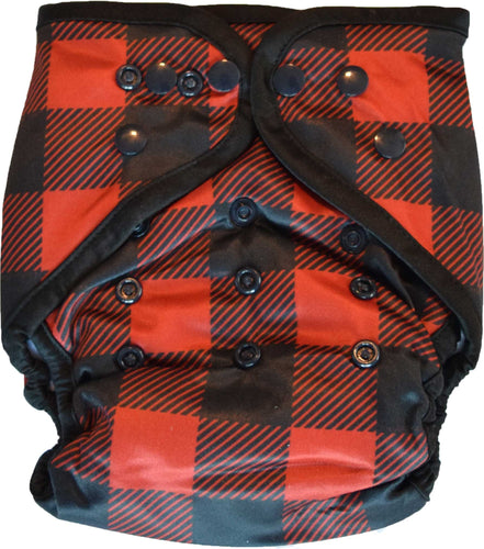Layla Mae All in One Cloth Diapers One Size Adjustable AIO (Buffalo Plaid)