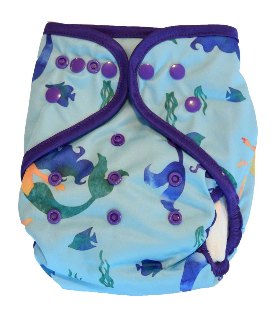 Layla Mae All in One Cloth Diapers One Size Adjustable AIO (Mermaid)